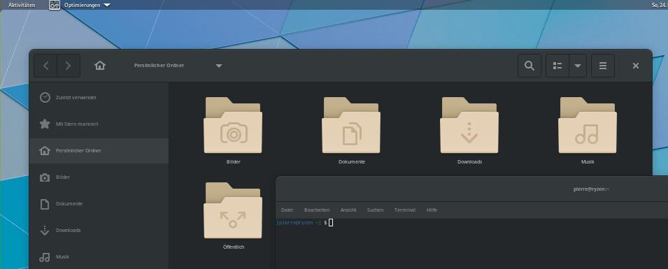 GNOME in der Skalierung 0.5